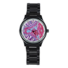 Natural Stone Red Blue Space Explore Medical Illustration Alternative Stainless Steel Round Watch by Mariart
