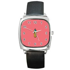 Pineapple Fruite Minimal Wallpaper Square Metal Watch by Mariart