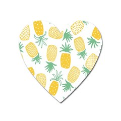 Pineapple Fruite Seamless Pattern Heart Magnet by Mariart