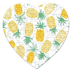 Pineapple Fruite Seamless Pattern Jigsaw Puzzle (heart) by Mariart