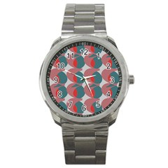 Pink Red Grey Three Art Sport Metal Watch by Mariart