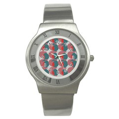 Pink Red Grey Three Art Stainless Steel Watch