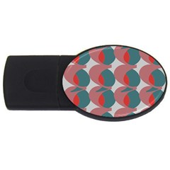 Pink Red Grey Three Art Usb Flash Drive Oval (4 Gb) by Mariart