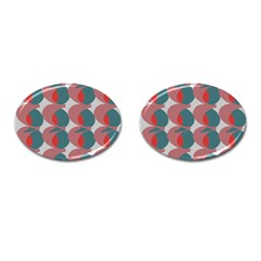 Pink Red Grey Three Art Cufflinks (oval)