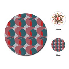 Pink Red Grey Three Art Playing Cards (round)  by Mariart