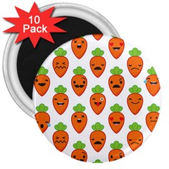 Seamless Background Carrots Emotions Illustration Face Smile Cry Cute Orange 3  Magnets (10 Pack)