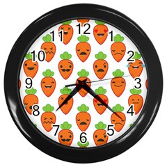 Seamless Background Carrots Emotions Illustration Face Smile Cry Cute Orange Wall Clocks (black) by Mariart
