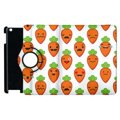 Seamless Background Carrots Emotions Illustration Face Smile Cry Cute Orange Apple Ipad 2 Flip 360 Case by Mariart