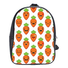 Seamless Background Carrots Emotions Illustration Face Smile Cry Cute Orange School Bag (xl) by Mariart