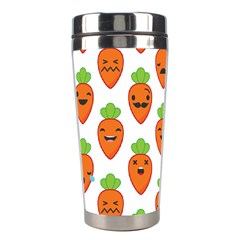 Seamless Background Carrots Emotions Illustration Face Smile Cry Cute Orange Stainless Steel Travel Tumblers by Mariart