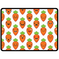 Seamless Background Carrots Emotions Illustration Face Smile Cry Cute Orange Double Sided Fleece Blanket (large)  by Mariart