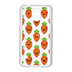 Seamless Background Carrots Emotions Illustration Face Smile Cry Cute Orange Samsung Galaxy S5 Case (white) by Mariart