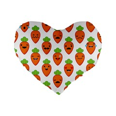 Seamless Background Carrots Emotions Illustration Face Smile Cry Cute Orange Standard 16  Premium Flano Heart Shape Cushions by Mariart