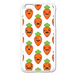 Seamless Background Carrots Emotions Illustration Face Smile Cry Cute Orange Apple Iphone 6 Plus/6s Plus Enamel White Case by Mariart