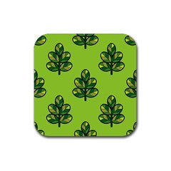 Seamless Background Green Leaves Black Outline Rubber Square Coaster (4 Pack)  by Mariart
