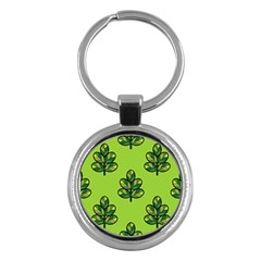 Seamless Background Green Leaves Black Outline Key Chains (round)  by Mariart