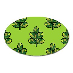 Seamless Background Green Leaves Black Outline Oval Magnet by Mariart