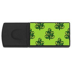 Seamless Background Green Leaves Black Outline Rectangular Usb Flash Drive by Mariart