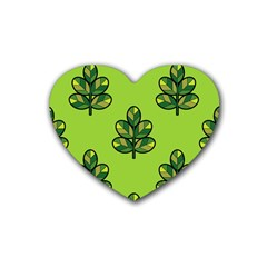 Seamless Background Green Leaves Black Outline Heart Coaster (4 Pack)  by Mariart