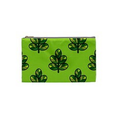 Seamless Background Green Leaves Black Outline Cosmetic Bag (small)  by Mariart