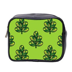 Seamless Background Green Leaves Black Outline Mini Toiletries Bag 2 Side by Mariart