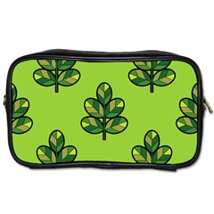 Seamless Background Green Leaves Black Outline Toiletries Bags 2 Side by Mariart
