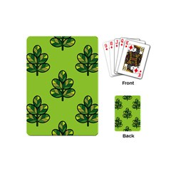 Seamless Background Green Leaves Black Outline Playing Cards (mini)  by Mariart