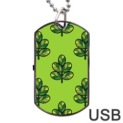 Seamless Background Green Leaves Black Outline Dog Tag Usb Flash (one Side) by Mariart