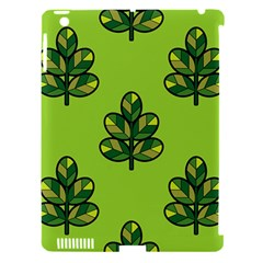 Seamless Background Green Leaves Black Outline Apple Ipad 3/4 Hardshell Case (compatible With Smart Cover) by Mariart