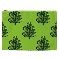 Seamless Background Green Leaves Black Outline Cosmetic Bag (xxl)  by Mariart
