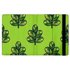 Seamless Background Green Leaves Black Outline Apple Ipad 3/4 Flip Case by Mariart