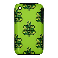 Seamless Background Green Leaves Black Outline Iphone 3s/3gs by Mariart