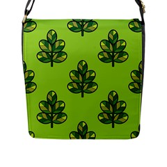 Seamless Background Green Leaves Black Outline Flap Messenger Bag (l)  by Mariart