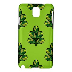 Seamless Background Green Leaves Black Outline Samsung Galaxy Note 3 N9005 Hardshell Case by Mariart