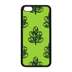 Seamless Background Green Leaves Black Outline Apple Iphone 5c Seamless Case (black)