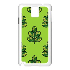 Seamless Background Green Leaves Black Outline Samsung Galaxy Note 3 N9005 Case (white) by Mariart