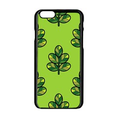 Seamless Background Green Leaves Black Outline Apple Iphone 6/6s Black Enamel Case by Mariart