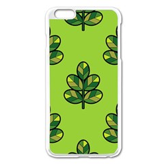 Seamless Background Green Leaves Black Outline Apple Iphone 6 Plus/6s Plus Enamel White Case by Mariart