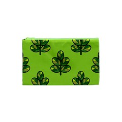 Seamless Background Green Leaves Black Outline Cosmetic Bag (xs) by Mariart