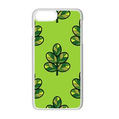 Seamless Background Green Leaves Black Outline Apple Iphone 7 Plus White Seamless Case by Mariart