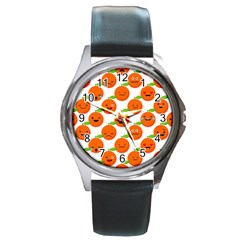 Seamless Background Orange Emotions Illustration Face Smile  Mask Fruits Round Metal Watch by Mariart