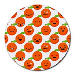 Seamless Background Orange Emotions Illustration Face Smile  Mask Fruits Round Mousepads by Mariart