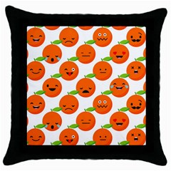 Seamless Background Orange Emotions Illustration Face Smile  Mask Fruits Throw Pillow Case (black) by Mariart