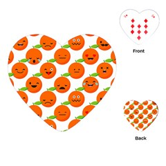 Seamless Background Orange Emotions Illustration Face Smile  Mask Fruits Playing Cards (heart)  by Mariart