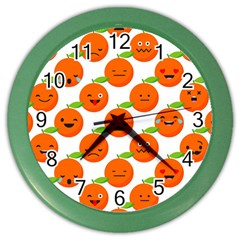 Seamless Background Orange Emotions Illustration Face Smile  Mask Fruits Color Wall Clocks by Mariart