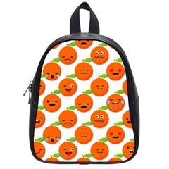 Seamless Background Orange Emotions Illustration Face Smile  Mask Fruits School Bag (small) by Mariart