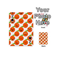Seamless Background Orange Emotions Illustration Face Smile  Mask Fruits Playing Cards 54 (mini)  by Mariart