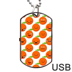 Seamless Background Orange Emotions Illustration Face Smile  Mask Fruits Dog Tag Usb Flash (one Side) by Mariart