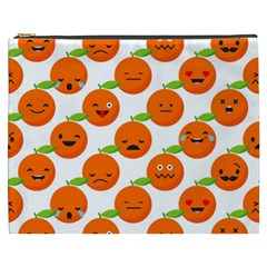 Seamless Background Orange Emotions Illustration Face Smile  Mask Fruits Cosmetic Bag (xxxl)  by Mariart