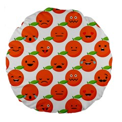 Seamless Background Orange Emotions Illustration Face Smile  Mask Fruits Large 18  Premium Round Cushions by Mariart